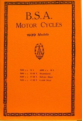 1939  B S A  Motor CycleIs  Instruction Bk For All 1939 500 C.C.Models 600 CC SV