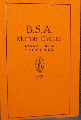 1929 B S A Motor Cycles Instruction Book For 1.74 h.p  & A 29 Three Speed