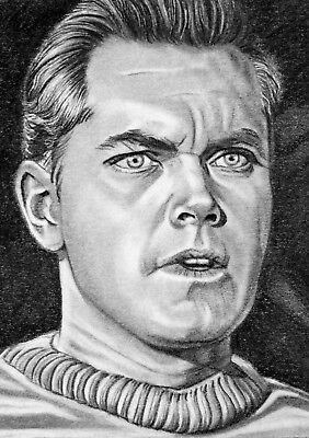 ORIGINAL ACEO sketch card STAR TREK Jeffery Hunter CAPTAIN PIKE