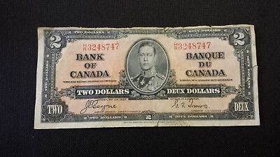1937 Bank of Canada $2 Canadian Money -- Coyne/Towers # H/R3248747