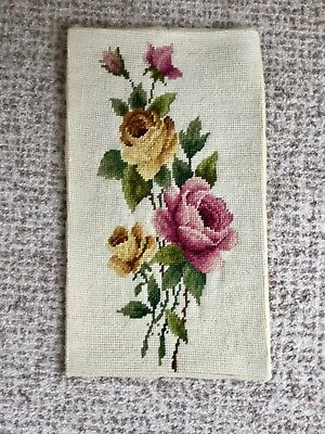 "Vintage Hand Embroidered Wool Needlepoint Panel Roses 9"" x 15"""