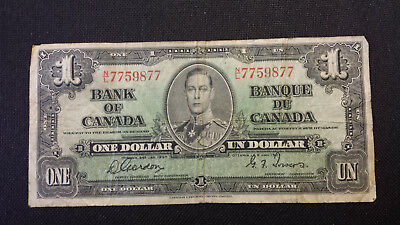 1937 Bank of Canada $1 Canadian Money -- Gordon/Towers # N/L 7759877
