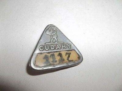 Rare Vtg 1921 Cudahy Packing Company Embossed Employee Badge - Whitehead & Hoag
