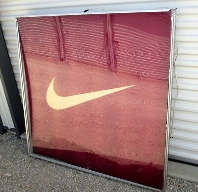 """Nike Swoosh Logo-1994- Factory Store Display Lighted-Case- Sign- 48.5"""""""