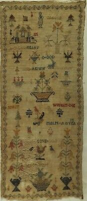 EARLY/MID 19TH CENTURY FIGURE, GATEHOUSE & MOTIF & PSALM SAMPLER - c.1840