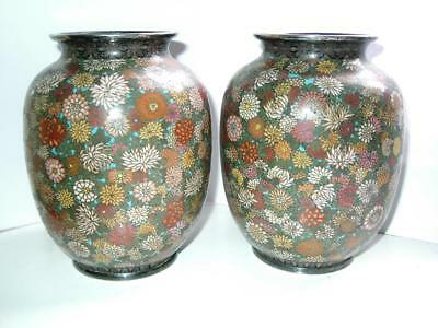 Japanese silver wire & rims cloisonne Millefleur thousands of flowers vases 1900