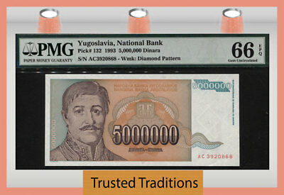 Tt Pk 132 1993 Yugoslavia - National Bank 5 Million Dinara Pmg 66 Epq Gem Unc!
