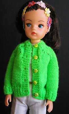 Bright green Sindy Dolls cardigan Tammy Tressy Barbie Susi lot 95