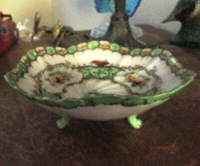 Antique Footed Bowl With Raised Pin-Wheel Floral Decor Unusual & Rare Nice