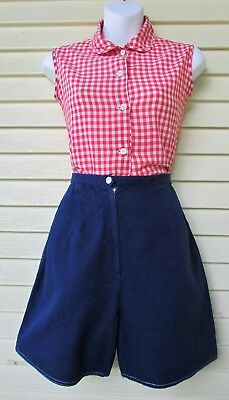 Vtg 50s HIGH WAIST Rockabilly Pin Up Blue Side Waist Cinch Cotton Shorts XS-S 25