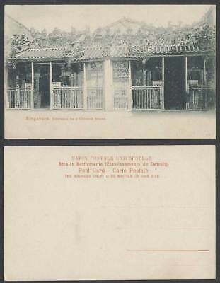 Singapore Old Postcard Entrance to a CHINESE TEMPLE, Straits Settlements, Malaya