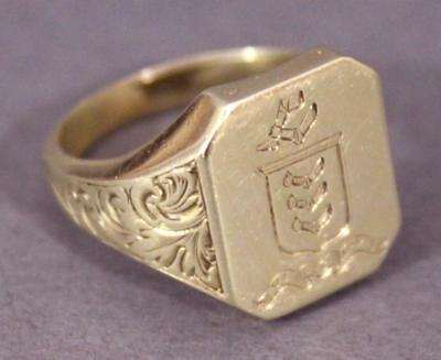 Antique 14K Gold Signet Ring, Scottish ARMSTRONG Clan Family Crest Coat of Arms