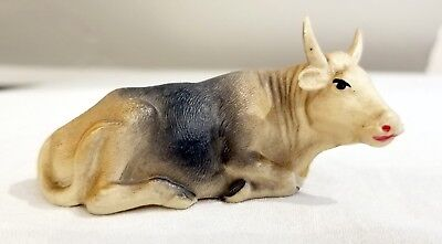Miniature Recling Cow, Celluloid. U.S.A. Early 1920s Viscoloid. Exact Detail