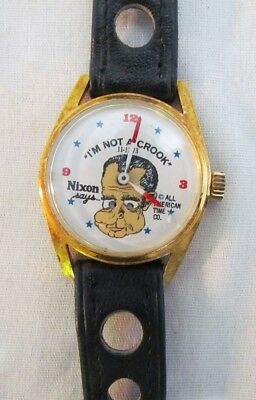 As-Is Richard Nixon Says I'm Not A Crook Novelty Wrist Watch All American Time