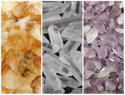 Bulk Mixed Amethyst Citrine & Clear Quartz Crystal Collection 1/2 Lb Points