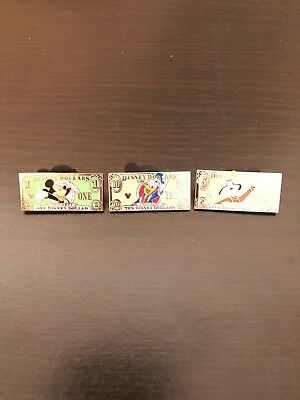 Disney Hidden Mickey Pins Full Set Of 3 Dollar Bill Series