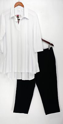 Women with Control Set Sz XL Crepe Jersey Tunic & Cropped Pants White