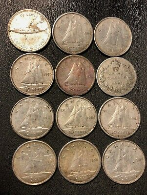 Old Canada Coin Lot - 1931-1967 - SILVER DIMES - 12 Coins - Lot #812