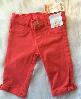 """NWT Gymboree Girls 2T Coral Capri Bow Pants """"Butterfly Catcher"""" $29"""