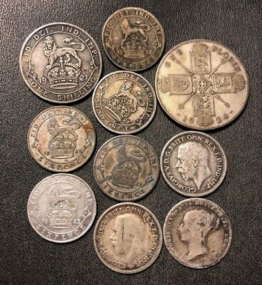 Vintage Great Britain Silver Coin Lot - 1857-1933 - 10 Silver Coins - Lot #812