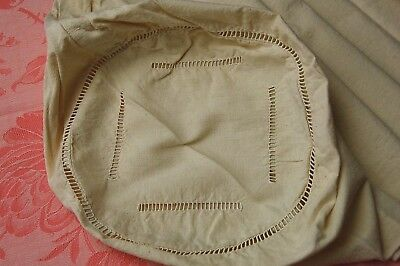 """XL BOLSTER Pillow Case Vtg French Cover PURE Linen Cream Color 52"""" Cylindrical"""