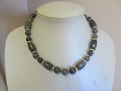 "Vintage 16"" Mottled Gray Bead Necklace"