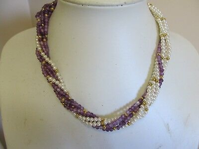 "6 Strand Twisted Faux Pearl 16"" Necklace Variegated Shades of Mauve & White"