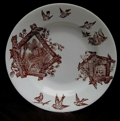 "Sweet Antique/Vintage Brown Transfer Ware 9"" Bowl w Bird House & Birds Signed"