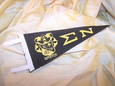 """VINTAGE Sigma Nu fraternity mini-pennant banner with crest, 9"""" long OLD"""
