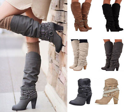 07734d9e313f New Womens Buckle Slouch Mid-Calf Boots Ladies Block High Heel Boots Shoes  Party