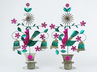 Vintage MEXICAN Folk Art Tin Votive CANDLE HOLDERS Tree of Life PAIR