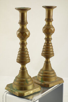 Pair of Antique Victorian Era Solid Brass Beehive Candlesticks 10""
