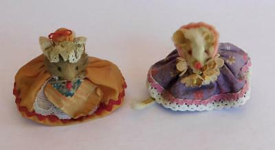 Lot of 2 Vtg Real Fur Little Mouse Factory Mice Betsy Ross USA Flag West Germany