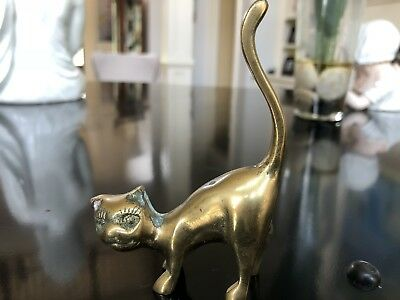 """Vintage Brass Standing Cat with Tail in the Air 2.75"""" W x 4"""" T Figurine Unmarked"""