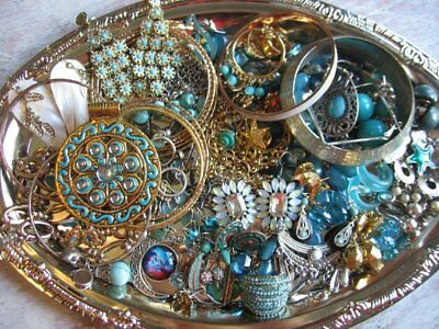 Vintage Now Estate Jewelry Junk Drawer Lot Unsearched Untested Wearable TEAL