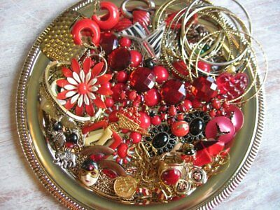 Vintage Now Estate Jewelry Junk Drawer Lot Unsearched Untested Wearable RED