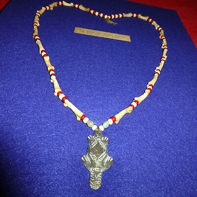 Rare Ca Mid 1700's Native American Indian Fur Trade Brass Beaver Beaded Necklace