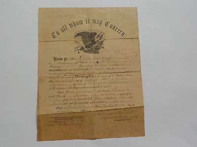 Civil War Document 1865 151st Indiana Discharge Miami County Nashville Tennessee