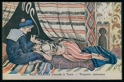 art Jarry sailor & arab prostitute in Tunisia nude woman original 1910s postcard