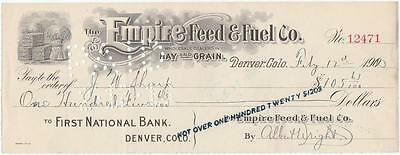 1903 Check Empire Feed & Fuel Co. Wholesale Dealers Hay & Grain Denver, Co.