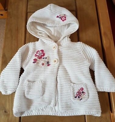 Mamas & Papas White Ribbed Hooded Cardigan 3/6 Month combine post build a bundle