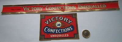 Rare Antique Sweet  Jar Label Set Victory Confections Unequalled
