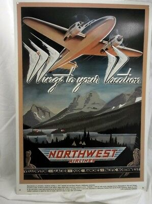 Northwest Airlines Metal Advertising Sign-From 1937 Brochure- Copyright 1991