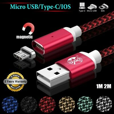 1M/2M/3M 3IN1 Braided Magnetic Type C/IOS/Micro USB Quick Charger Data Cable LOT