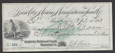 1890 Basic City Virginia Mining Company Bank Draft RN-FAC