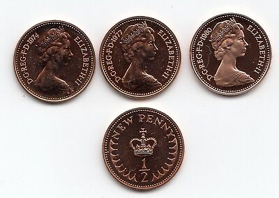 UK PROOF Decimal Half Pennies 1/2p Pence Coins 1971 to 1984 - Choose your Year
