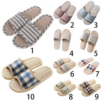 Adult Women Linen Striped Slippers House Summer Flax Shoes Indoor Floor Sandals