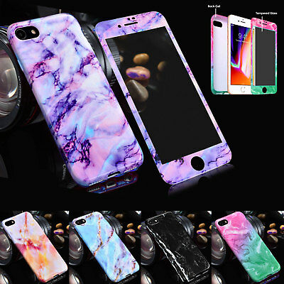 For iPhone 8 7 6 Plus X XS Marble Shockproof Silicone Protective Case Cover