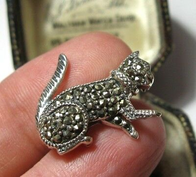 Vintage Jewellery Sterling Silver Marcasite Stone Art Deco Cat Kitten BROOCH Pin