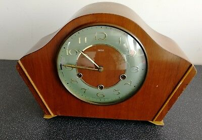 Old Wooden Cased Smiths Chiming Mantel Clock